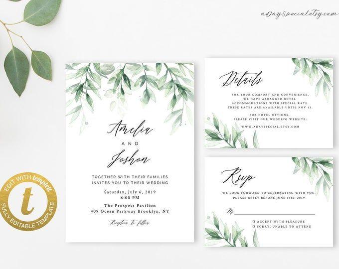 Greenery Wedding Suite Template Greenery Wedding Invitation DIY Printable Instant Download Instant Download PDF Editable