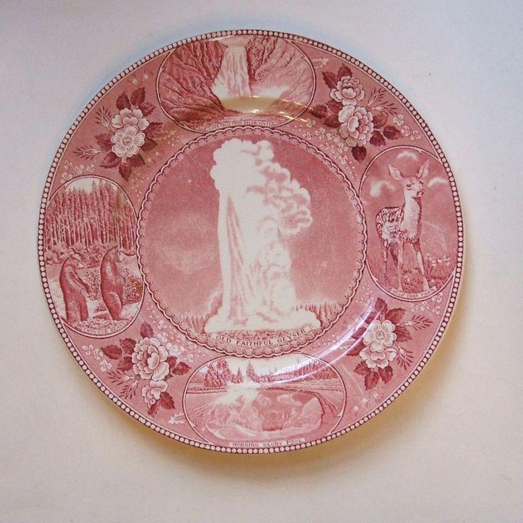 Adams Jonroth Yellowstone Old Faithful 10 Inch Red Staffordshire Souvenir Plate