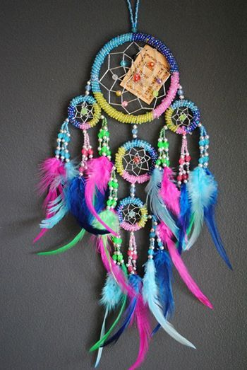 Stunning 4 color catcher Dream Catcher - Rainbow 4 Colour - (Medium) Silver & Rainbow Beads with Multi ...