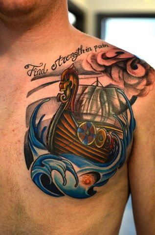 Viking Ship Tattoo On Front Shoulder