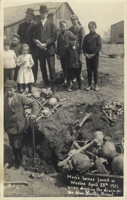 April 28, 1911: Men's bones found while digging the drain for the new Sunday school of Weston Presbyterian Church. A contemporary newspaper article states that workmen excavating at the corner of Main and Mill streets, Weston, about 50 feet from the banks of the Humber River, came across the skeletons of 30 men only two feet from the surface.