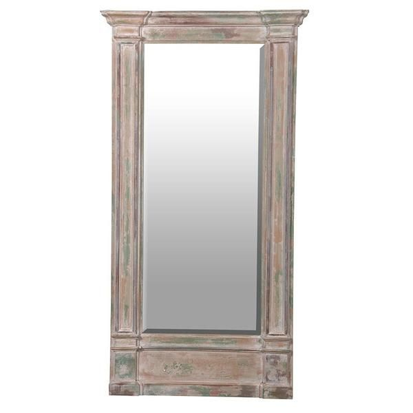 Hallway or dressing mirror in a classic column style .Modern distress finish in a green and grey paint , shabby chic style. collection from store . Free de...