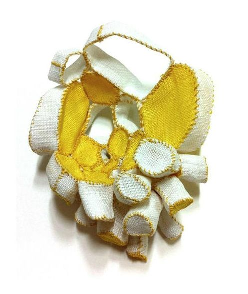 "Mina Kang (Korea) brooch ""Mixture 11"" -  ramie fabric, thread, stainless steel"