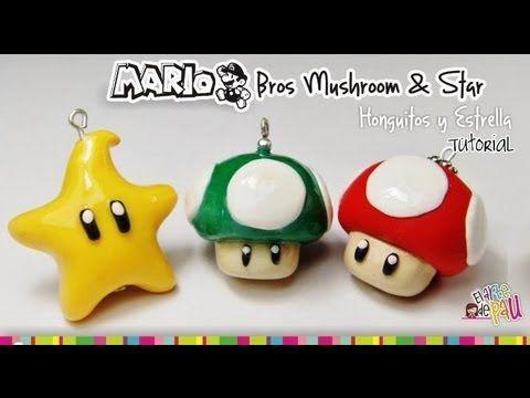 MARIO BROS Mushroom & Star polymer Clay tutorial / hongo y estrella de Mario Bross