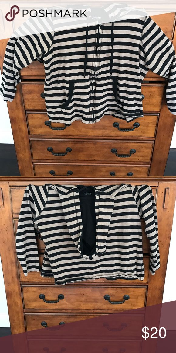 Calvin Klein Zipup Hoodie cute tan and black striped zip up hoodie Calvin Klein Jackets & Coats