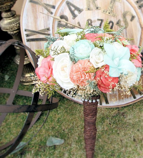 Wedding Bouquet Luxe Collection Large Mint by CuriousFloral, Queen Anne's Lace, Coral Mint Bouquet, Bridal Bouquet, Spring Wedding $180.00