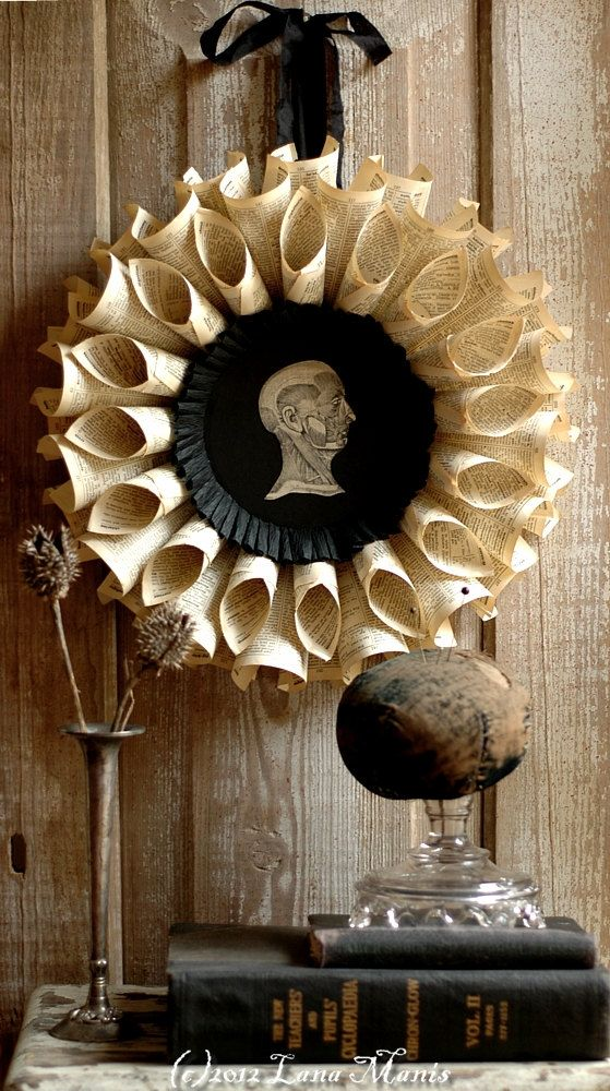 Haunted House Decor Halloween Wreath - 1938 Medical Book - Paper Sculpture - Ready To Ship. $45.00, via Etsy.