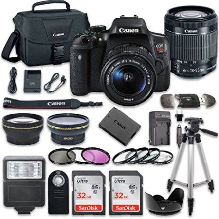 Canon EOS Rebel T6i 24.2 MP Digital SLR Camera Bundle with Canon EF-S 18-55mm f/3.5-5.6 IS STM Lens + 2pc SanDisk 32GB Memory Cards + Accessory Kit