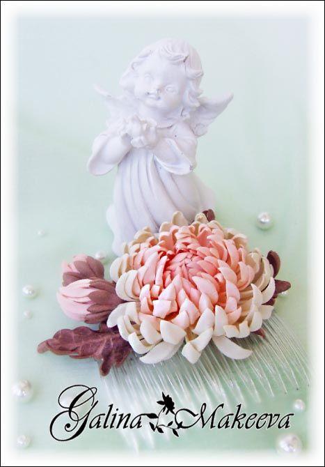 Гребешок с хризантемой из фоамирана коллекция Кристина (goma EVA)