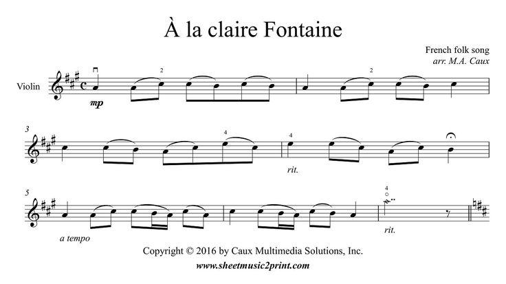 À la claire Fontaine - Violin