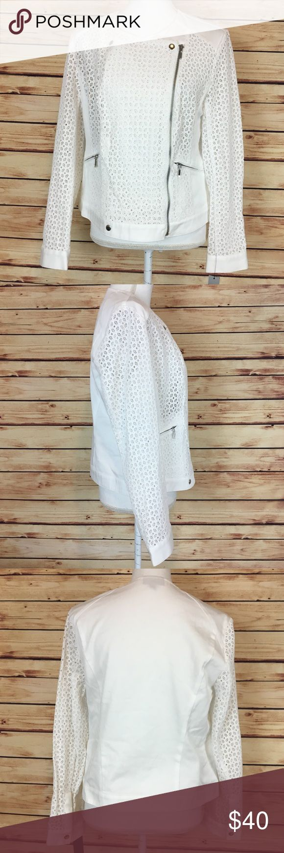 """NWT APT 9 White Crochet Zip Up Jacket Medium APT 9 jacket. White. Crochet detailing. Long sleeve. Zip up. Snap closures at top and bottom. Zipper pockets at waist. Medium.  New with tags and no flaws.  Measurements are approximately: 38"""" bust, 36"""" waist, and 20-22"""" length.  100% cotton.  No trades. All items come from a pet friendly home. Bundle to save! Apt. 9 Jackets & Coats"""
