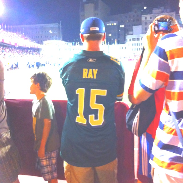 Once a Ricky Ray fan, always a Ricky Ray fan. Even though he is wearing an Eskimos jersey, this fan in Montreal was cheering for the Argos that night!