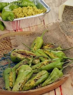 These delectable moong dal stuffed chillies can double up as elegant starters and also make a great side vegetable when served with dal and rice. Bhavnagri chillies are a large variety of mild green chillies. You can substitute these chillies with capsicum if you like!