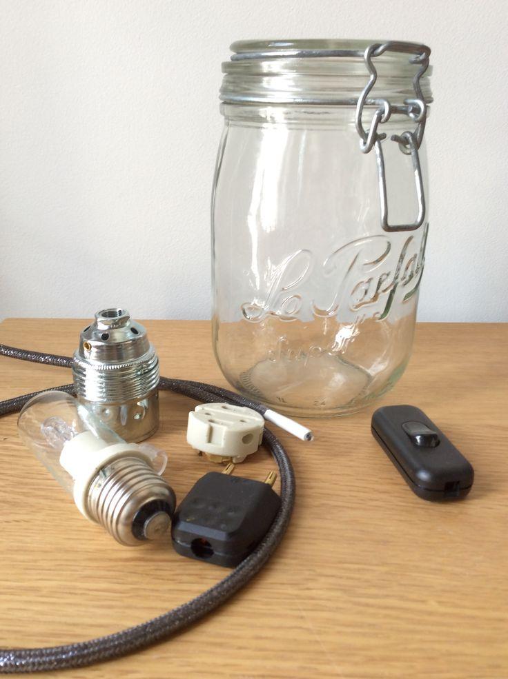 tuto monter une lampe suspension dans un bocal vintage confiture type mason jar tuto branchement cable ampoule et prise