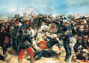El último cartucho Batalla de Arica.jpg AutorJuan Lepiani, 1894 TécnicaÓleo sobre lienzo LocalizaciónMuseo de los Combatientes del Morro de Arica, Lima, Flag of Peru.svg Perú