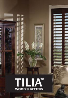 Rich, hardwood Tilia shutters by Maxxmar available at Covers Canada.
