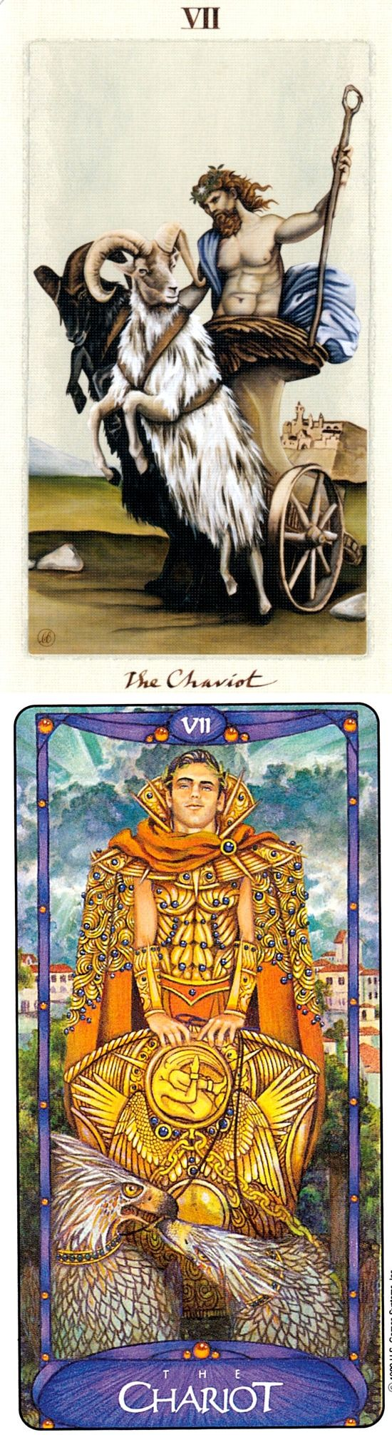 THE CHARIOT: self-control and loss of control (reverse). Pagan Otherworlds Tarot deck and Matt Meyers Tarot deck: online tarot reading free instant, free dark tarot vs tarw dwrean. Best 2018 tarot decks for sale and wiccan spells. #themoon #pagan #witchy #gothic