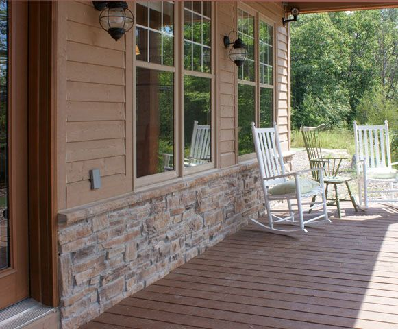 Mountain Ledge Stone Laid in Mortar with Matching Sill Band, Beaverton Bronze Colour - http://www.stonerox.com
