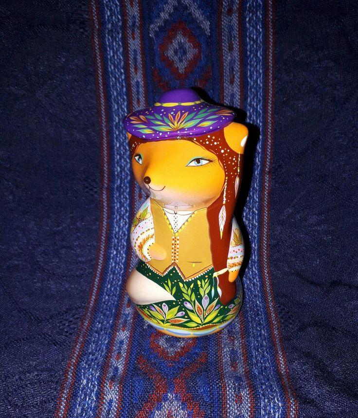 Violet - fox from prairies. Country hippie style. Ceramic Ocarina. Animals sculpture. by Jivizvuk on Etsy