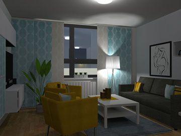 Interier Desing for a small one-room flat by Monika Jakubcova www.arcline.sk #interior, #interiordesign, #homedesign