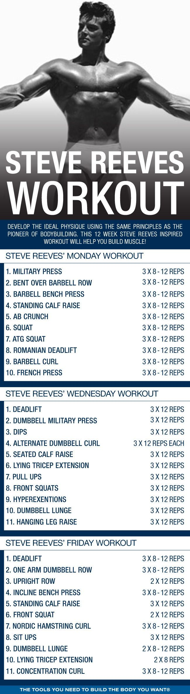 (Click through to download PDF!) Develop the ideal physique using the same principles as the pioneer of bodybuilding. This 12 week Steve Reeves inspired workout will help you build muscle! #workout #gym #fitness #bodybuilding