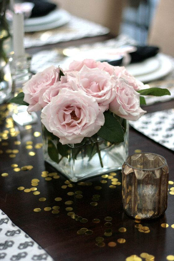 small shop Erika Brechtel vday dinner party table setting black white Stone Textile pink roses gold confetti