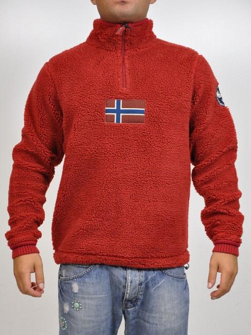 Felpa Napapijri modello NARSAQ. Rossa con apertura a mezza zip