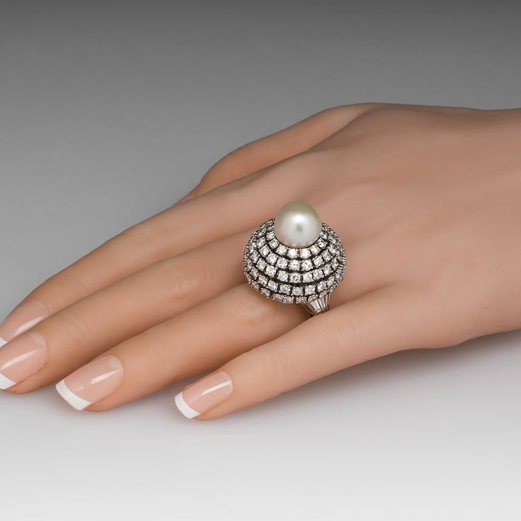 Platinum South Sea Pearl & Diamond Dome Cocktail Ring