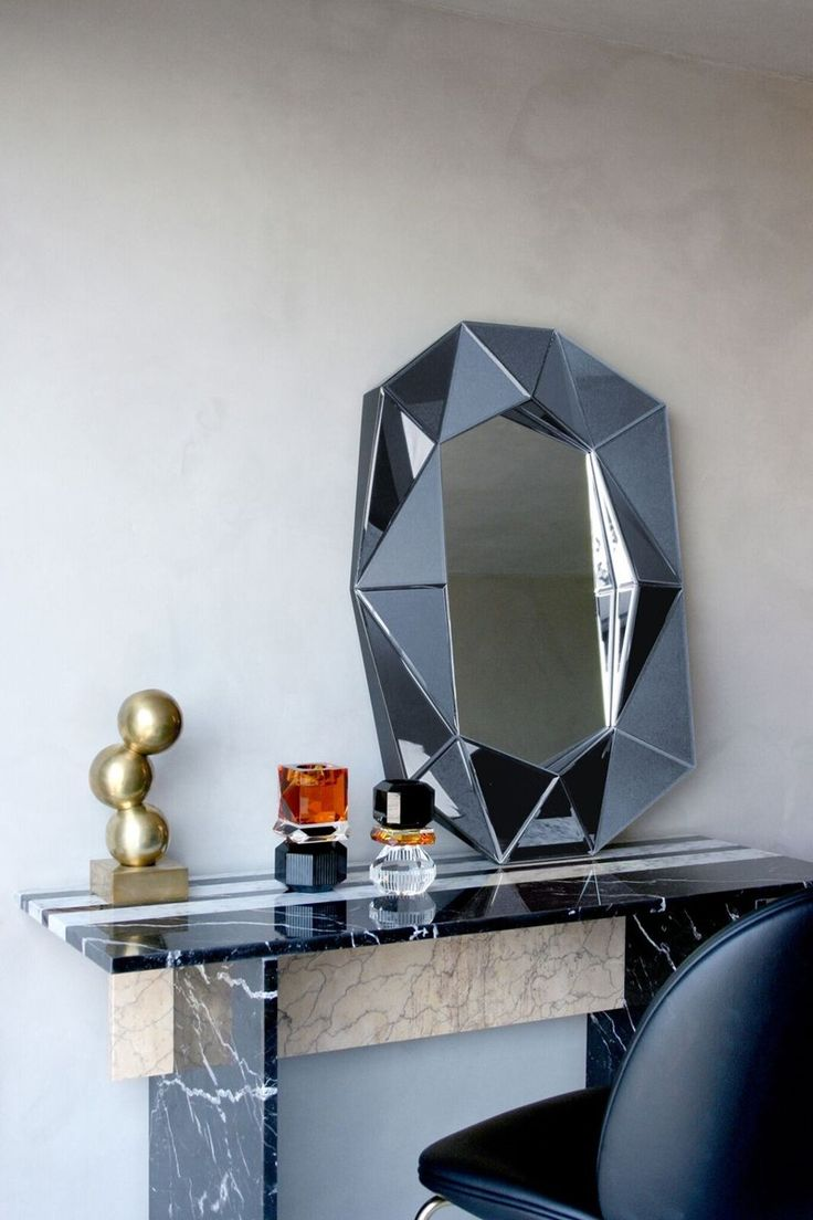 Midnight grey diamond silver mirror