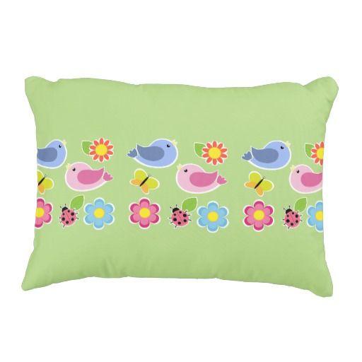 """Birds and Butterflies Polyester Pillow 16"""" x 12"""""""