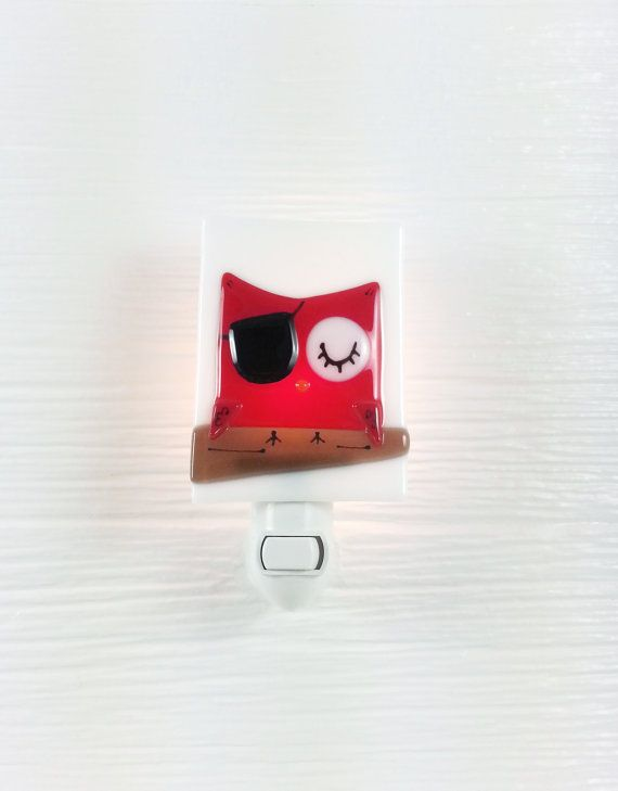 Nightlight owl, pirate, red, fused glass, turquoise, baby, room decoration, nursery, Veille Sur Toi, shower gift, kid room, children
