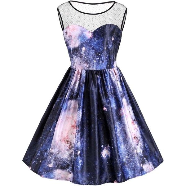 Midnight 5xl Plus Size Galaxy Print Sleeveless Retro Dress ...