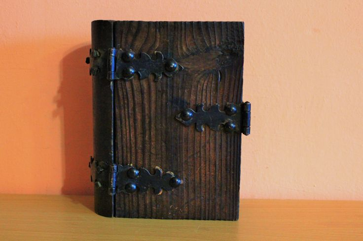 Antique Wooden & Cast Iron Box Book Shape, Wood Box Jewelry Holder, Carved Box Dark Wood, Trinket Storage Box Vintage by Grandchildattic on Etsy
