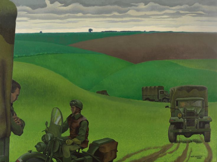 Alex Colville, Convoy in Yorkshire, No. 2, 1944, oil on canvas, 76.3 x 102 cm, Beaverbrook Collection of War Art, Canadian War Museum, Ottawa.