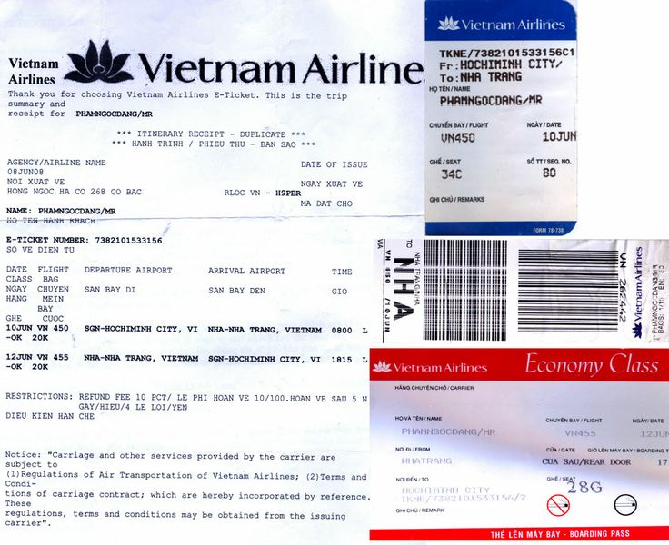 VIETNAM AIRLINES Itinerary, Electronic Ticket \ Boarding Passes to - fake airline ticket maker
