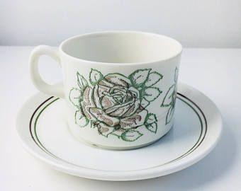 "Vintage Gefle Sweden hand printed coffee cup and saucer named ""Rebekka "", made in Sweden"