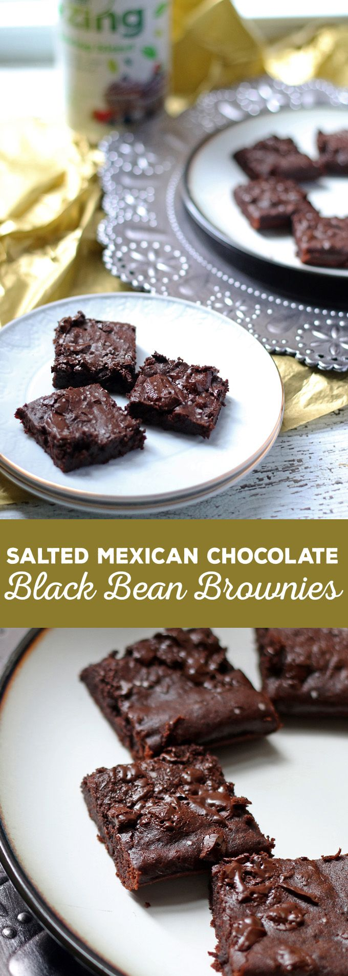 These salted Mexican chocolate black bean brownies are perfect for New Year's Eve celebrations! They will be a delicious slimmed down addition to your holiday party! #ad #ZingBakingHoliday @zingstevia | honeyandbirch.com