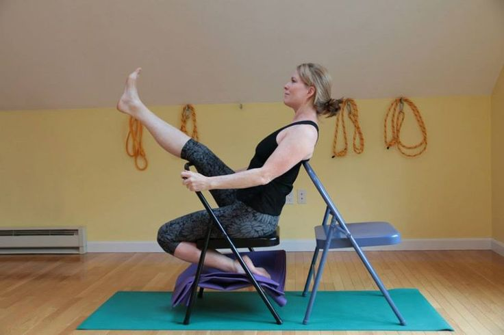 Krounchasana iyengar yoga chair seated poses pinterest for Chaise yoga iyengar