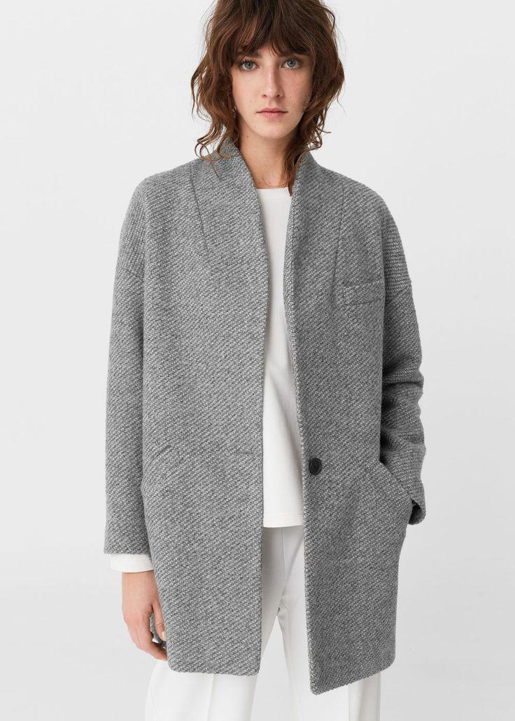 Пальто-кокон с шерстью   MANGO МАНГО