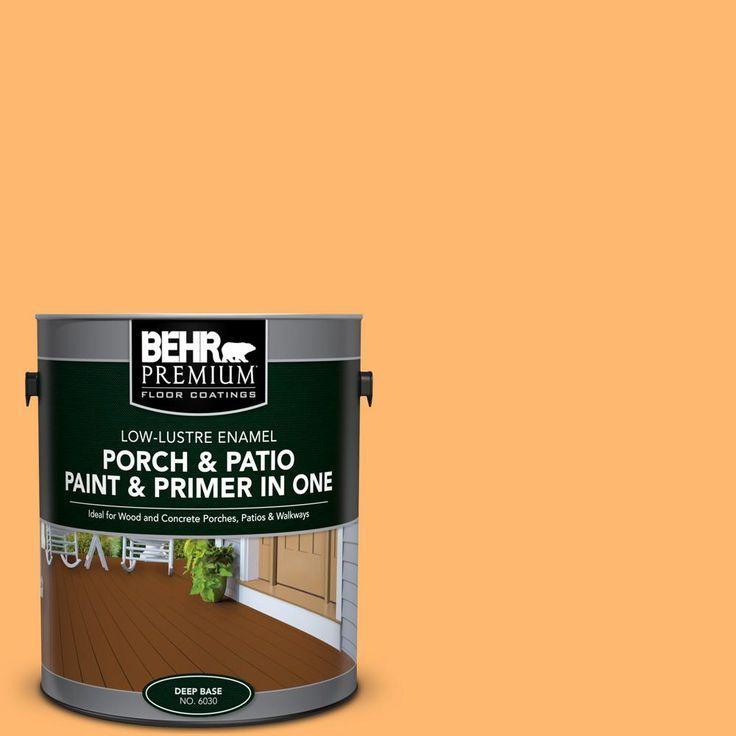 BEHR Premium 1 Gal. #P240 5 Cheese Puff Low Lustre Interior/Exterior Paint  And Primer In One Porch And Patio Floor Paint, Oranges/Peaches