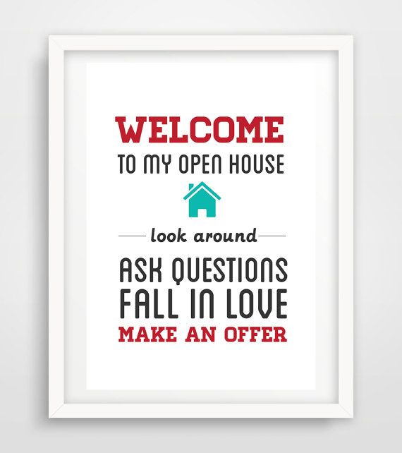 "Realtor Real Estate open house sign artwork digital print 11x14"" Poster printable instant download YOU PRINT"