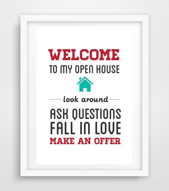 "Realtor Real Estate open house sign artwork digital print 11x14"" Poster printable instant download YOU PRINT"