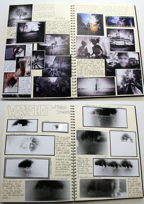 AS Photography, A3 White Sketchbook, Brainstorm, Canning Pinhole Camera Research…: