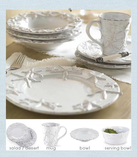 Starfish dinnerware. Created in a rubbed, worn style for a more casual, beach cottage placesetting. Milk glazed terracotta pieces have rubbed edging so the terra cotta peeks through a bit. Assorted, raised sea stars dance around each piece. http://www.seasideinspired.com/seashells.htm