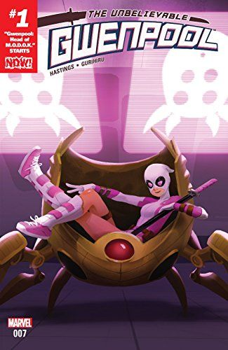 "Gwenpool, The Unbelievable (2016-) #7:   ""HEAD OF M.O.D.O.K."" STARTS NOW! M.O.D.O.K. has a new leader, and her name is Gwenpool! A few weeks ago, she wasn't even part of this universe, and now she's running a highly intricate mercenary organization! What do you mean she's not up to the task? Everything we know about her indicated she can handle this, right? Okay – maybe there will be an adjustment period…"