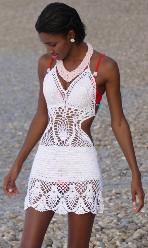 short white crochet dress by TIMELESSTRADE on Etsy
