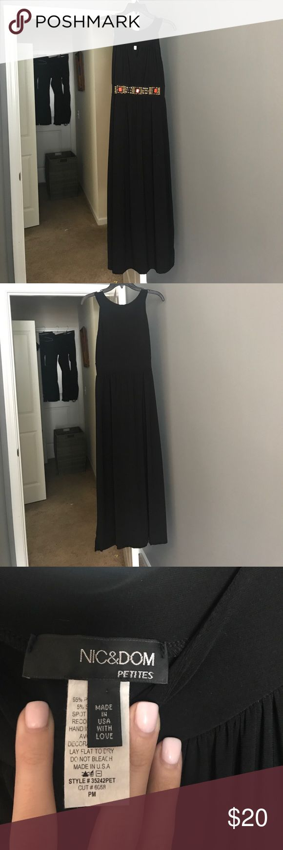 Black maxi --orange and gold beading on the front Long silky black sleeveless dress with cut out and orange and gold embellishment under bust --petite Dresses Maxi
