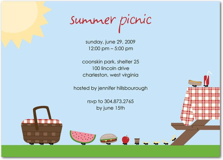 Blank Picnic Invitation Make Your Own M...