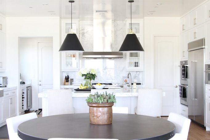 Classic Modern Kitchen Design via Becki Owens Design Featuring Butte Dome Pendants + Reed Swing-Arm Pendants from Rejuvenation