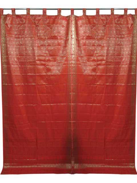 Buy Charming Red Sari Silk Curtain Panel